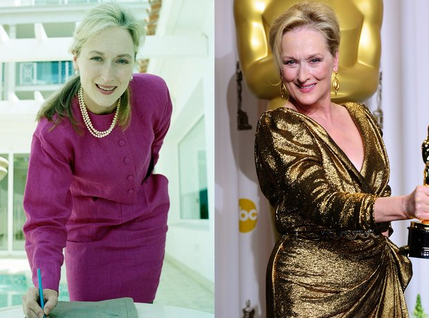 Meryl Strep then and now