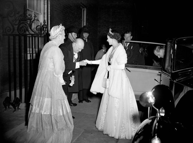 Queen Elizabeth & Winston Churchill, 1955