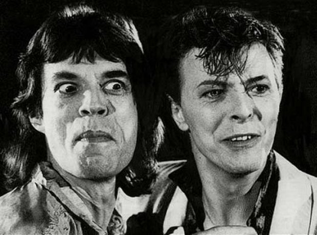 Mick Jagger and David Bowie