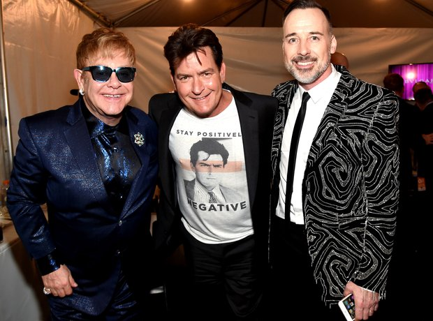Sir Elton John, Charlie Sheen and David Furnish