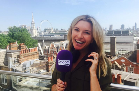Tina Hobley up on the Global roof